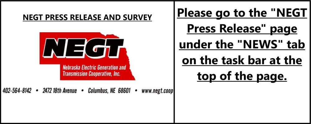 NEGT PRESS RELEASE & SURVEY